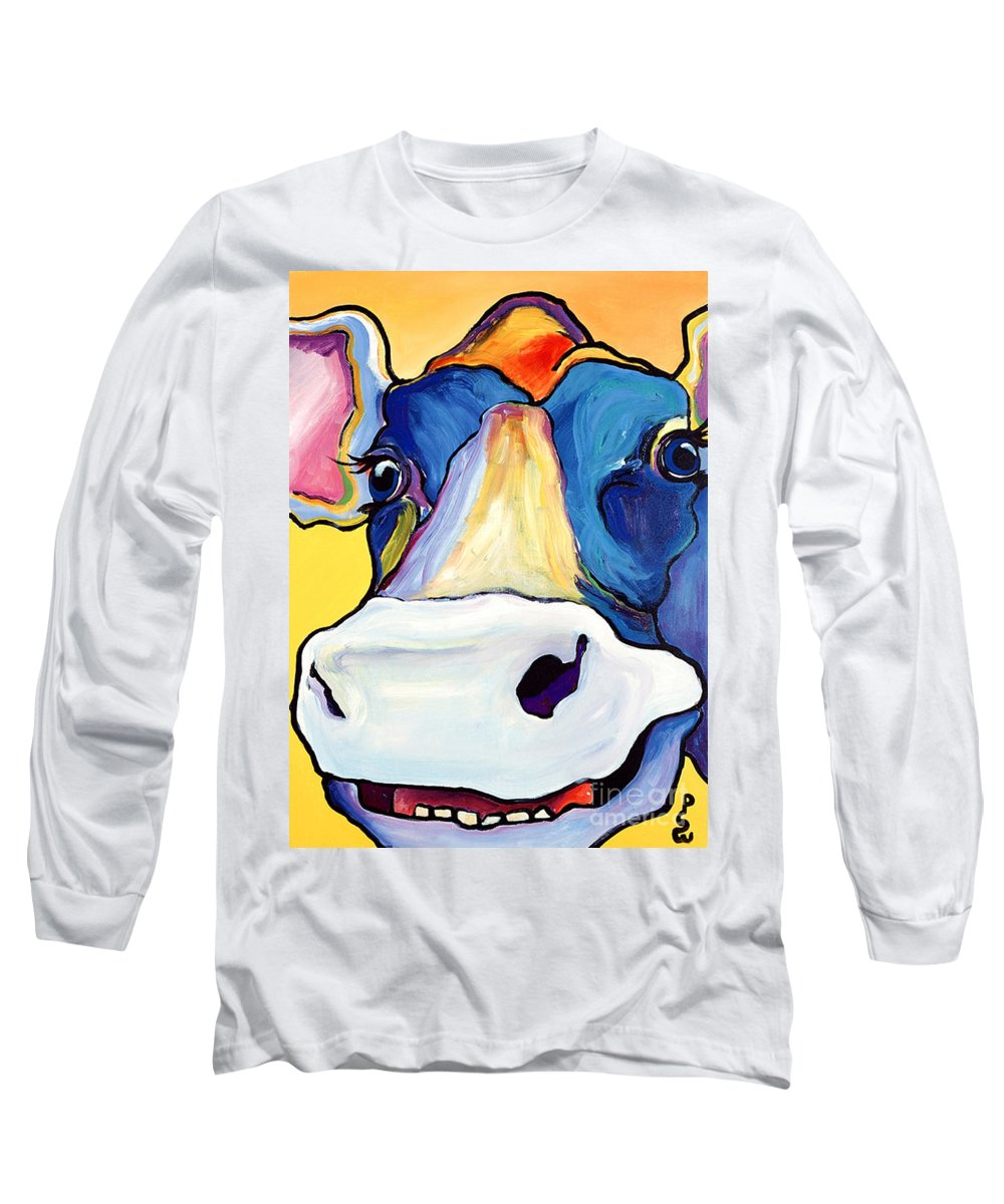 Cow Print Long Sleeve T-Shirt featuring the painting Dairy Queen I  by Pat Saunders-White