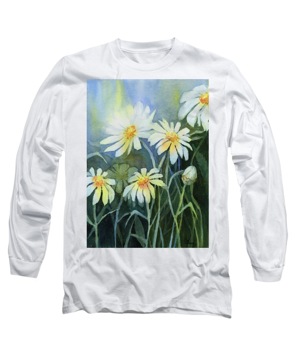 Daisies Long Sleeve T-Shirt featuring the painting Daisies Flowers by Olga Shvartsur