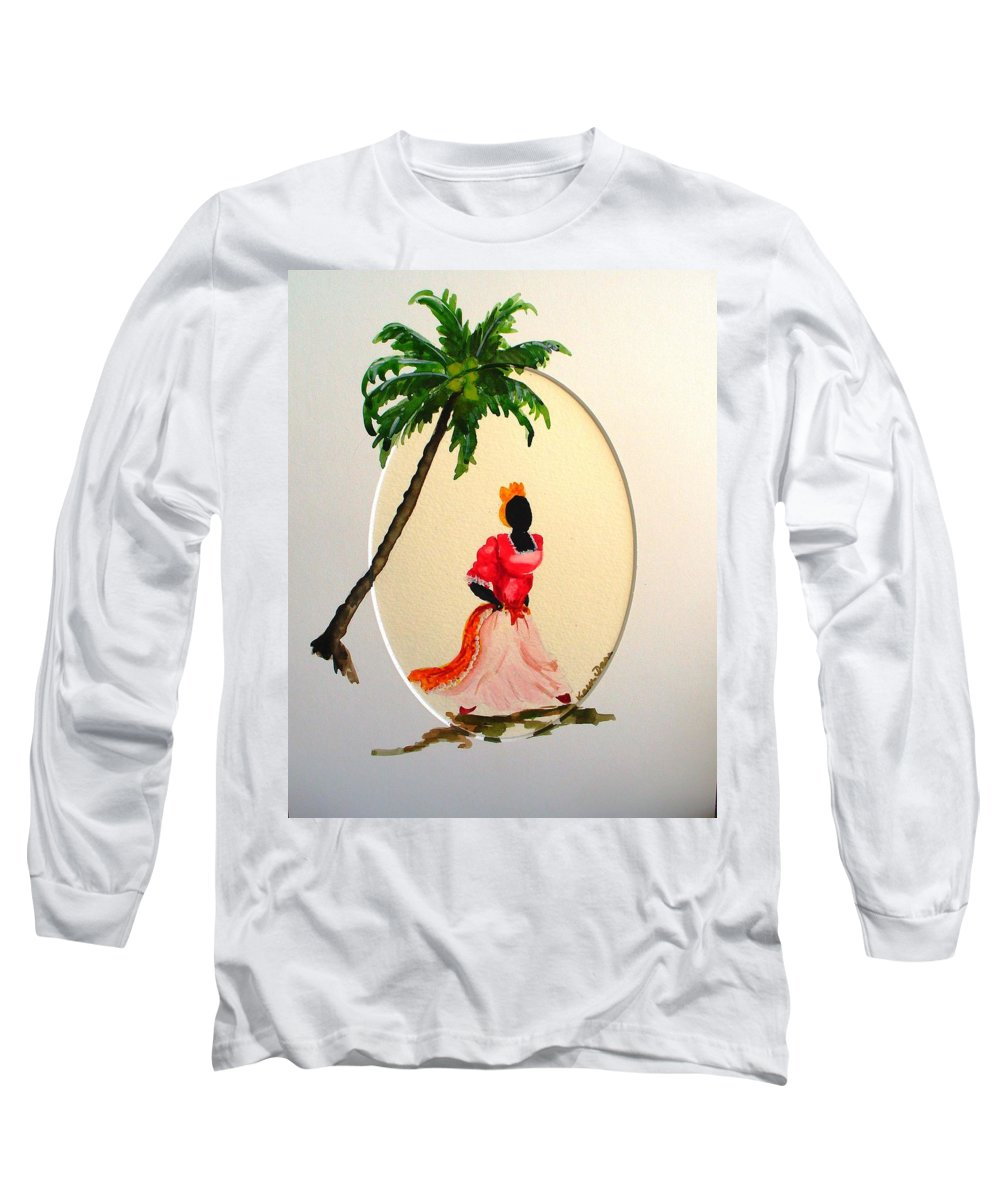 Caribbean Dancer Long Sleeve T-Shirt featuring the painting Dancer 1 by Karin Dawn Kelshall- Best