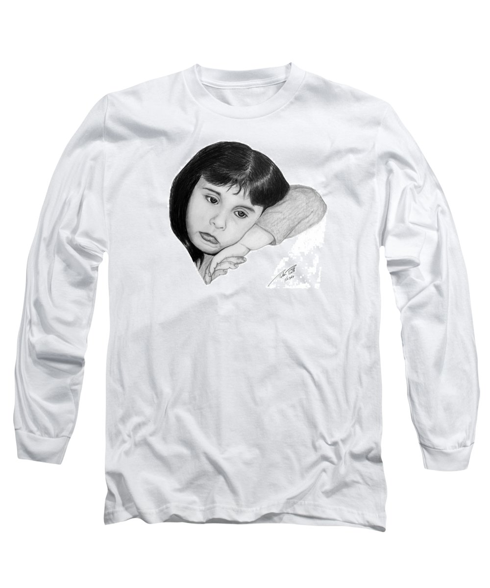 Portrait Sketch Long Sleeve T-Shirt featuring the drawing Dannie by Peter Piatt