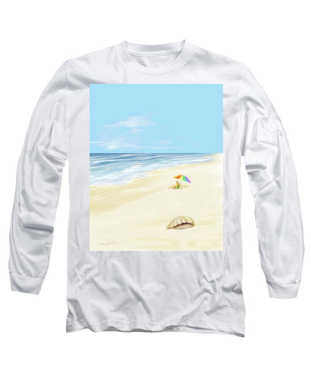 Beach Summer Sun Sand Waves Shells Long Sleeve T-Shirt featuring the digital art Day At The Beach by Veronica Jackson