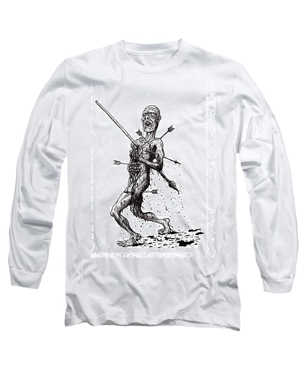 Dark Long Sleeve T-Shirt featuring the drawing Death March by Tobey Anderson