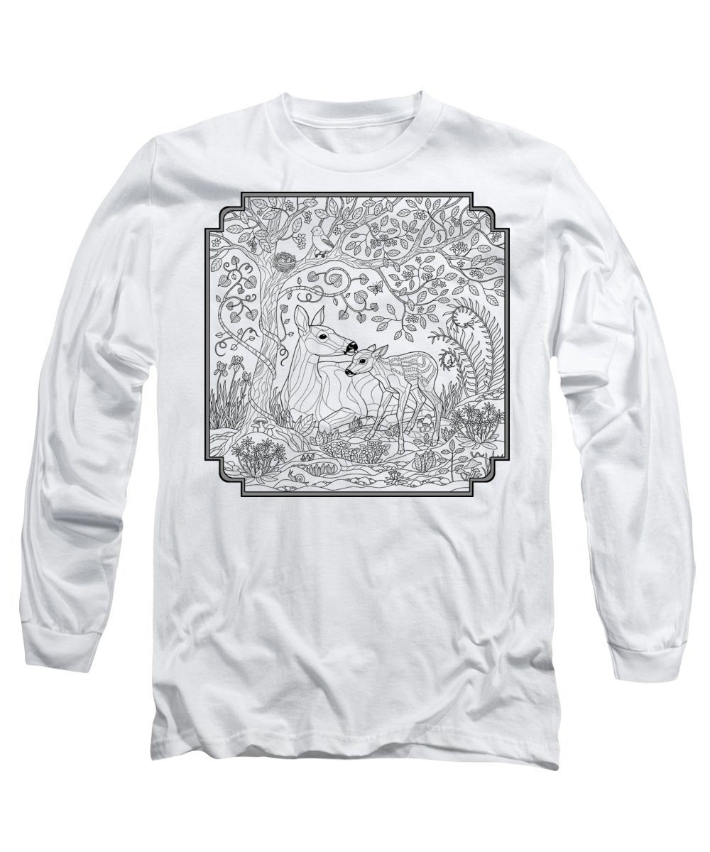 Deer Fantasy Forest Coloring Page Long Sleeve T Shirt