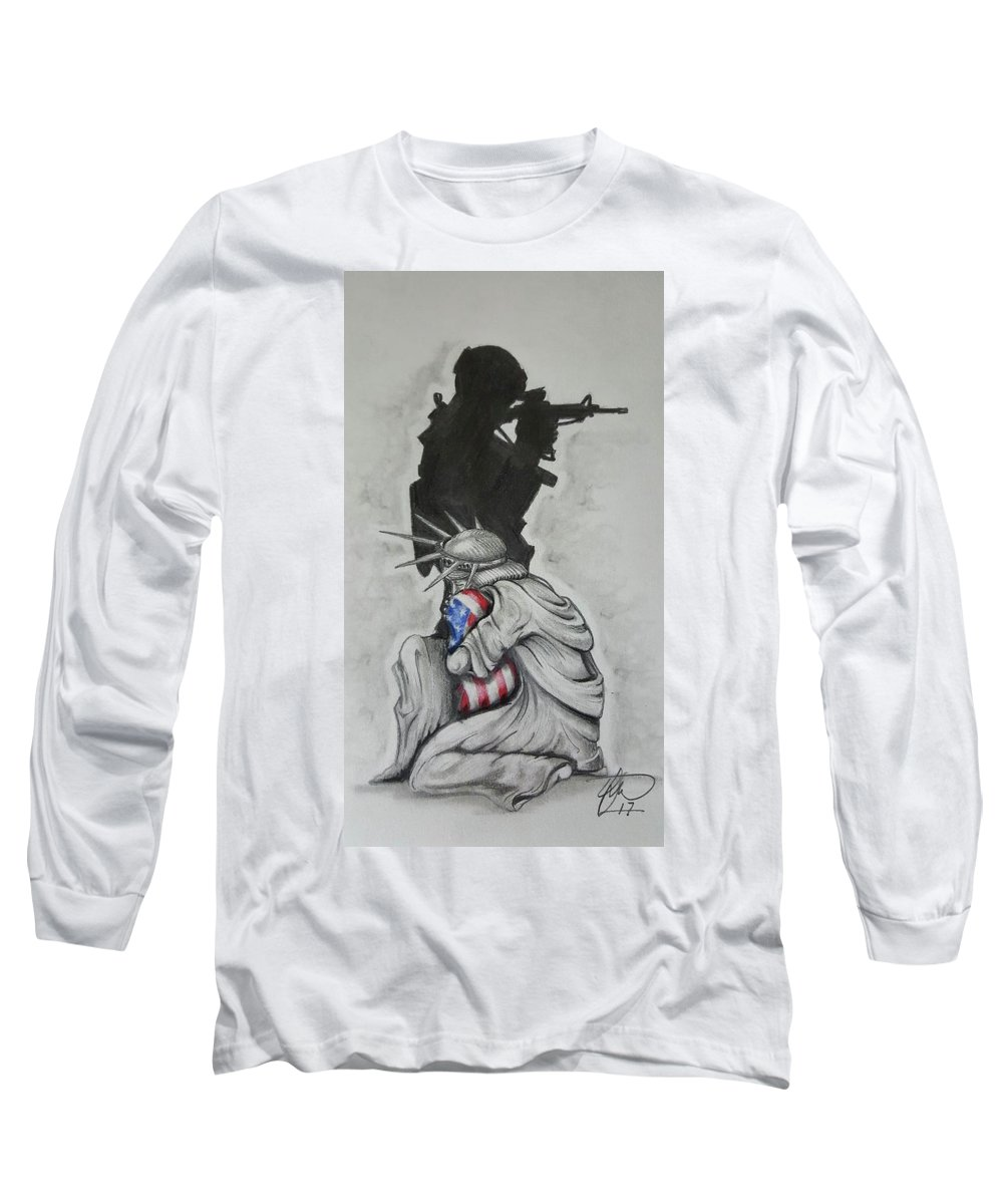 Liberty Long Sleeve T-Shirt featuring the drawing Defending Liberty by Howard King