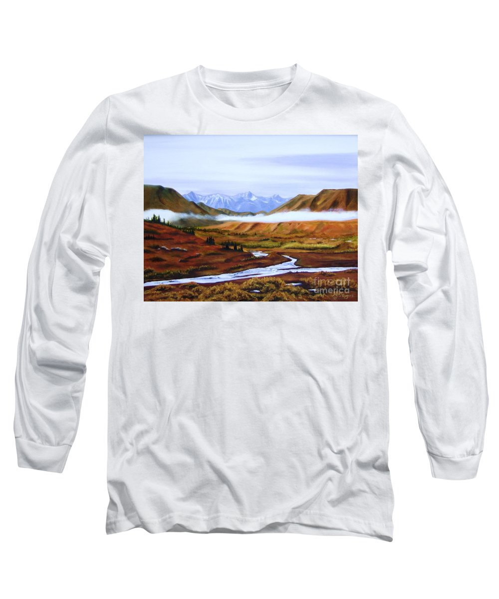 Art Long Sleeve T-Shirt featuring the painting Denali Autumn by Mary Rogers