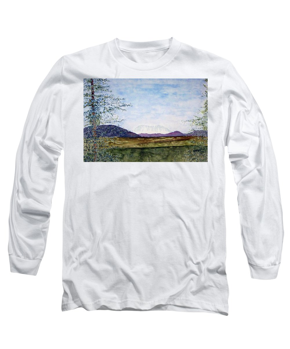 Alaska Art Long Sleeve T-Shirt featuring the painting Denali In July by Larry Wright