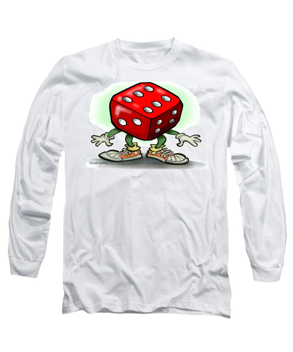 Dice Long Sleeve T-Shirt featuring the greeting card Dice by Kevin Middleton