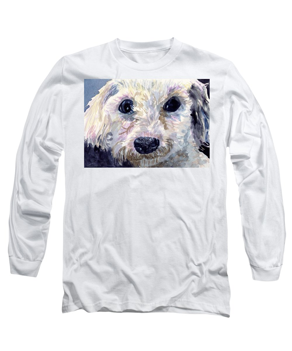 Bichon Frise Long Sleeve T-Shirt featuring the painting Did You Say Lunch by Sharon E Allen