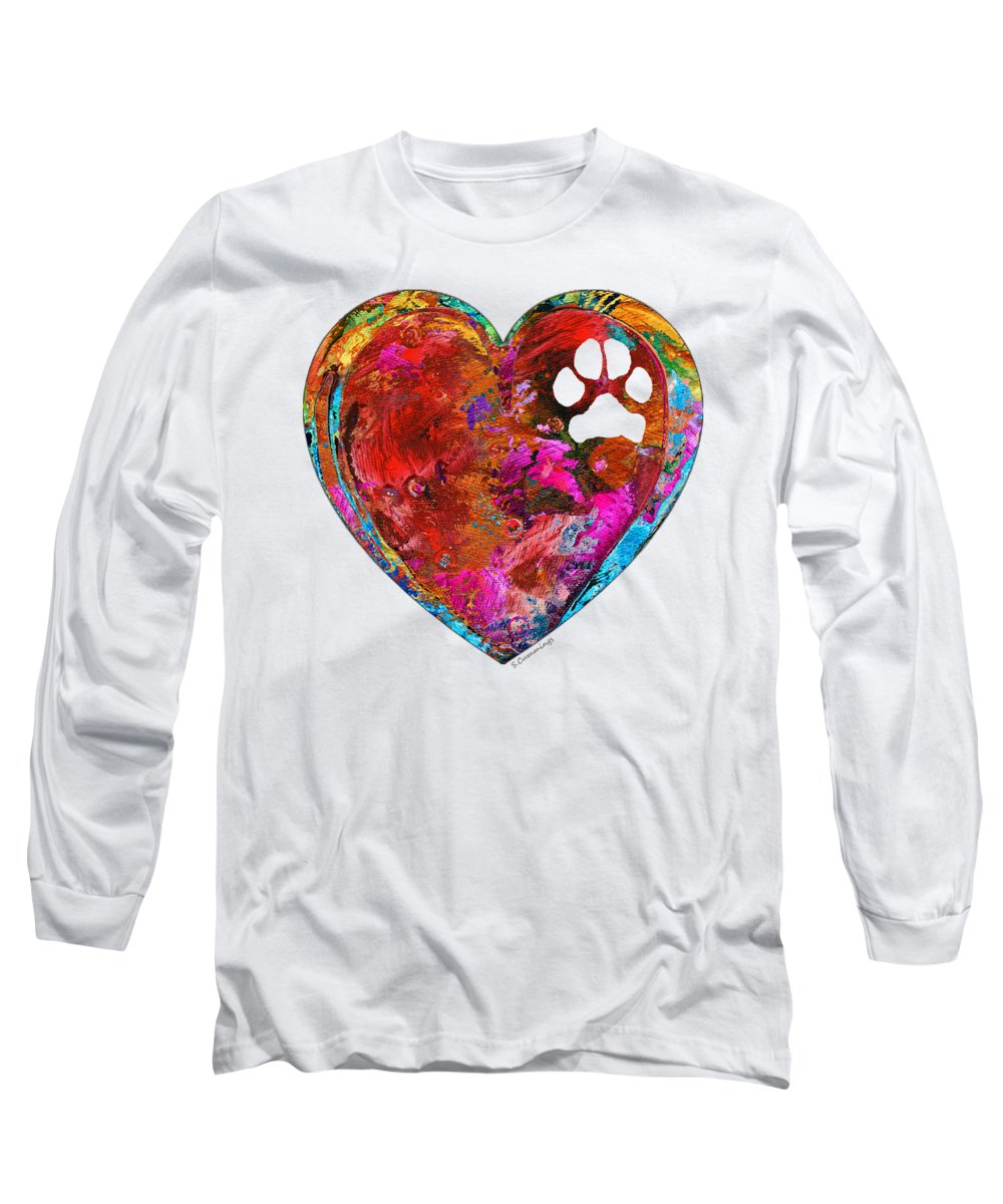 Dog Long Sleeve T-Shirt featuring the painting Dog Art - Puppy Love 2 - Sharon Cummings by Sharon Cummings