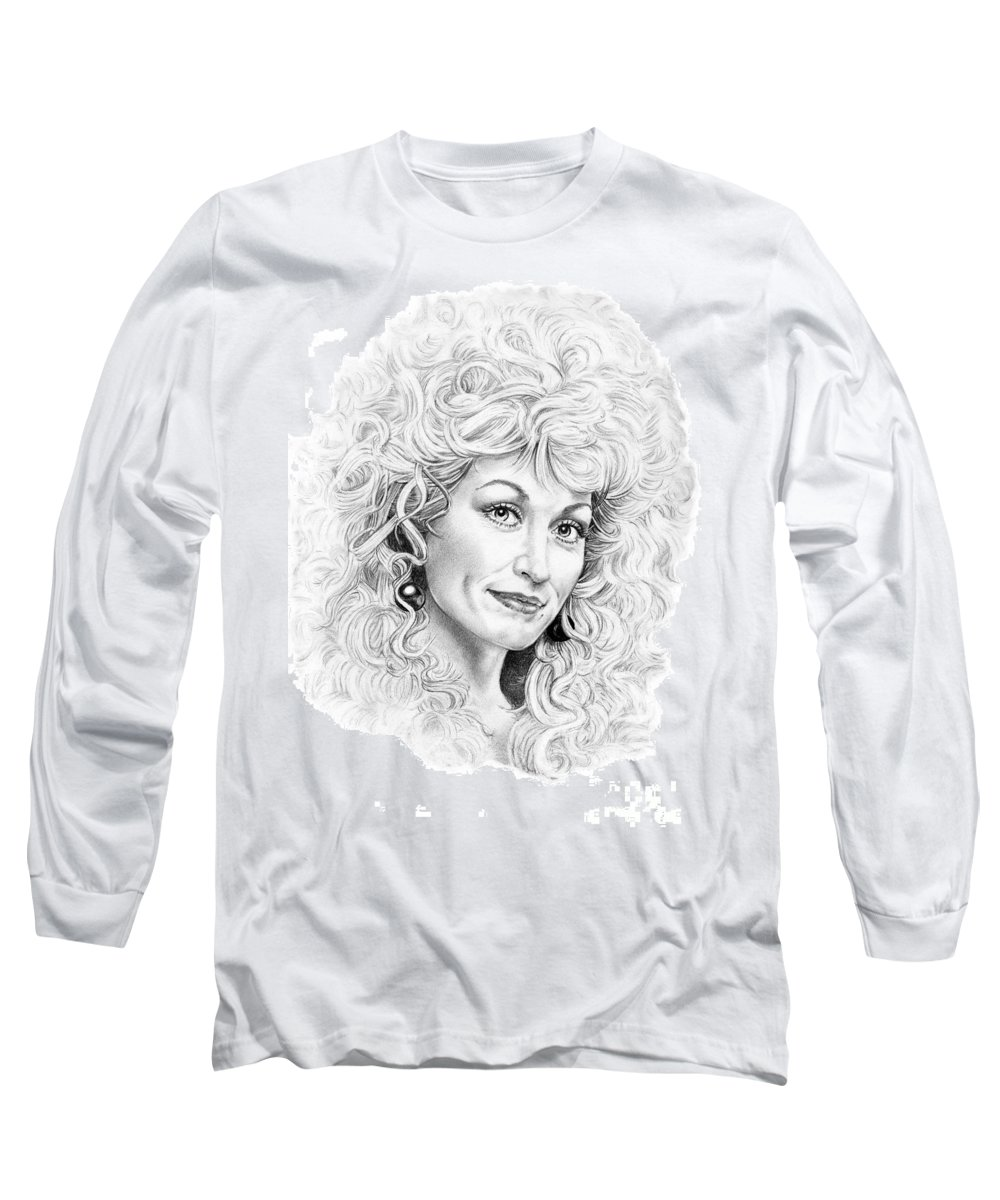 Portrait Long Sleeve T-Shirt featuring the drawing Dolly Parton by Murphy Elliott