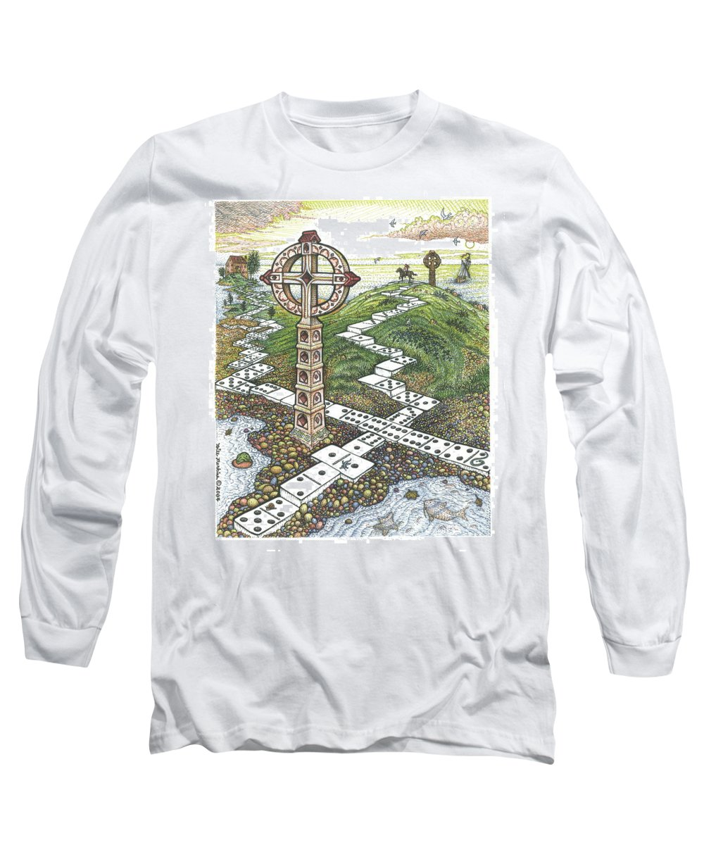 Landscape Long Sleeve T-Shirt featuring the drawing Domino Crosses by Bill Perkins