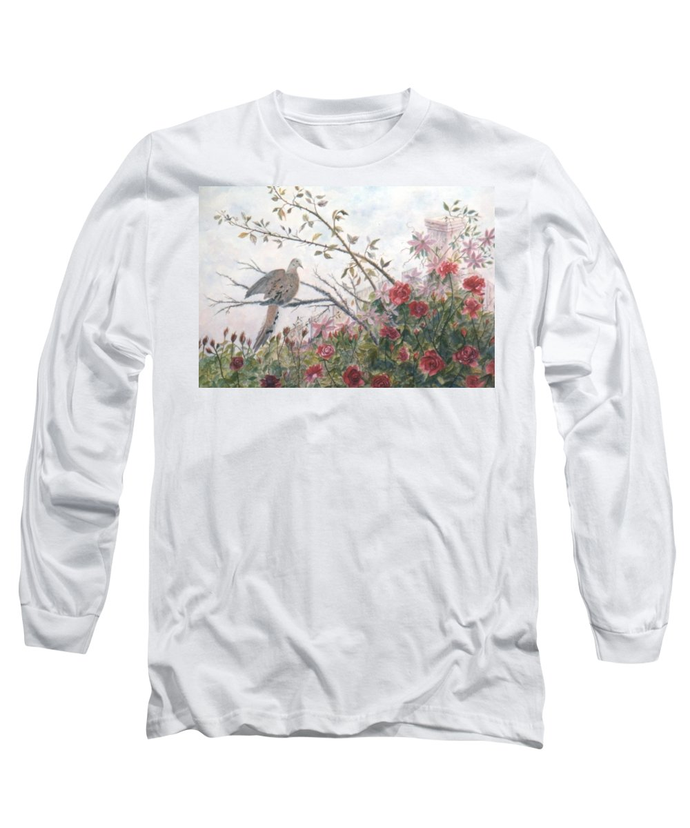Dove; Roses Long Sleeve T-Shirt featuring the painting Dove And Roses by Ben Kiger