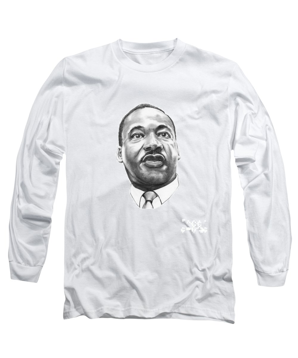 Portrait Long Sleeve T-Shirt featuring the drawing Dr. Martin Luther King by Murphy Elliott