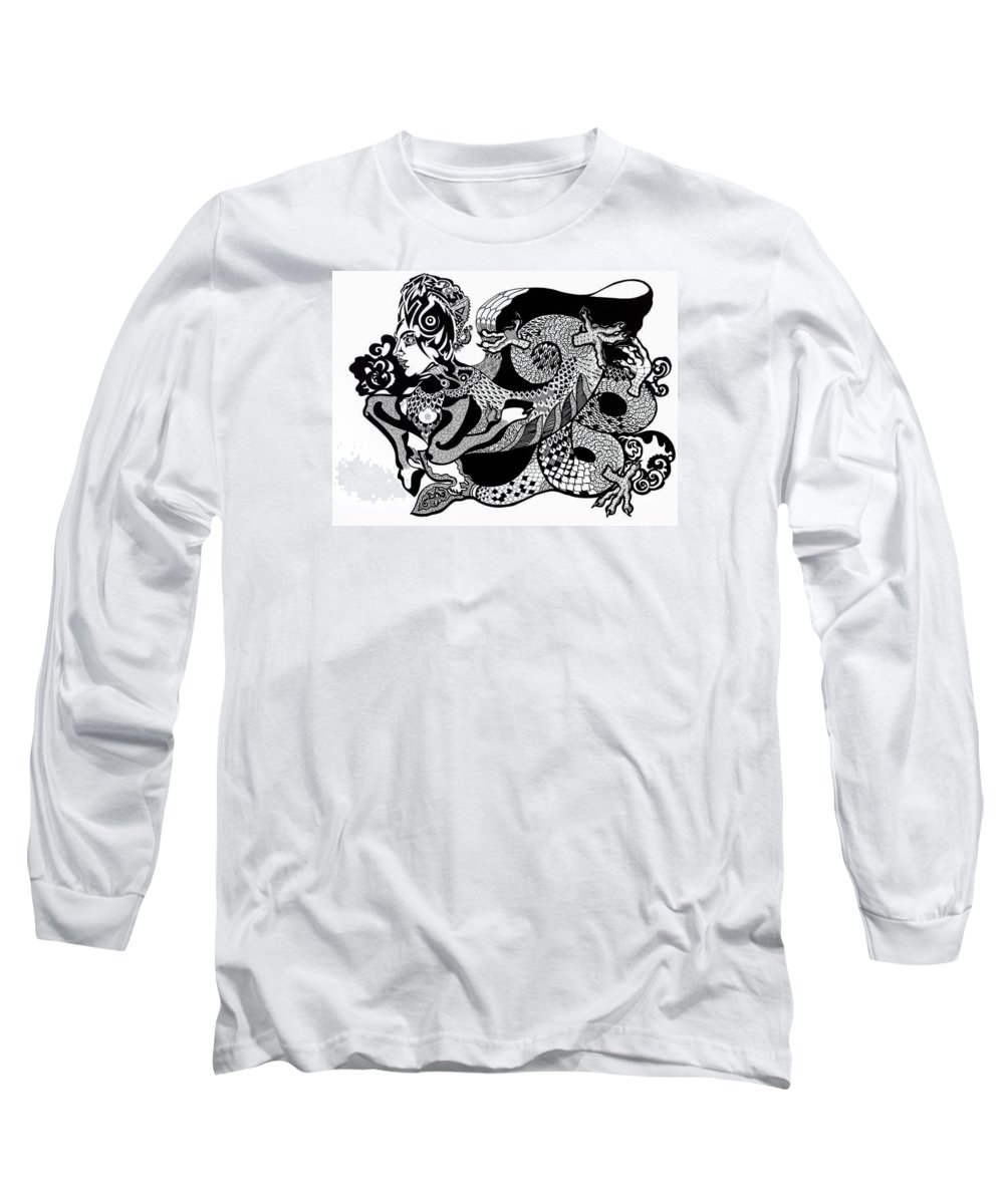 Fantasy Long Sleeve T-Shirt featuring the drawing Dragon Lady by Yelena Tylkina