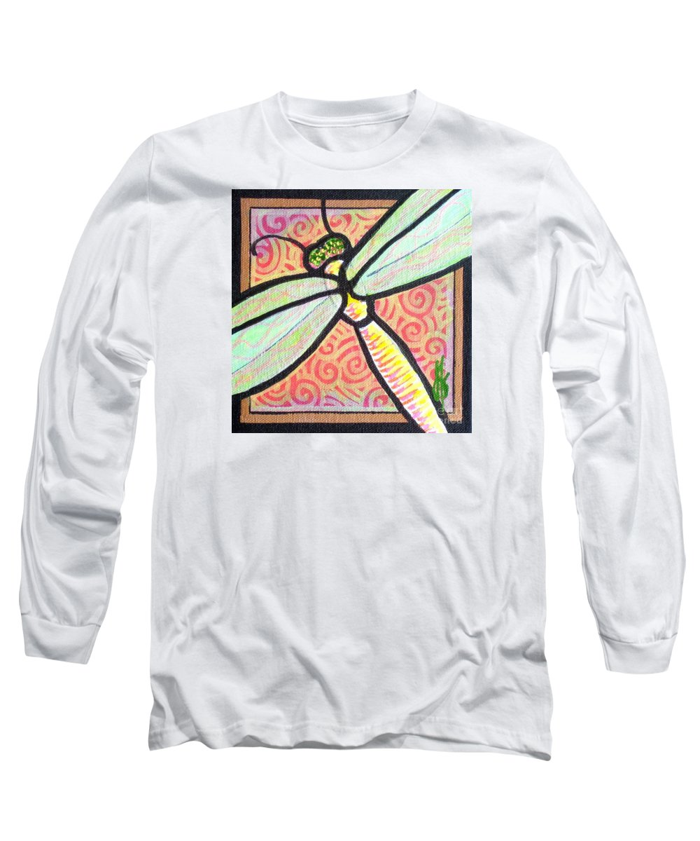 Dragonfly Long Sleeve T-Shirt featuring the painting Dragonfly Fantasy 3 by Jim Harris
