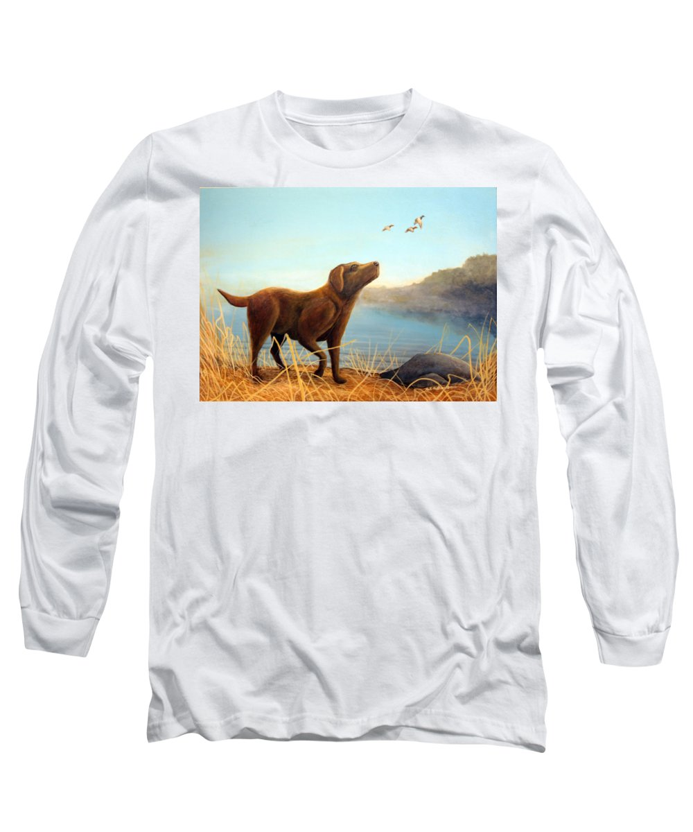 Chocolate Lab Painting Long Sleeve T-Shirt featuring the Dutch by Rick Huotari