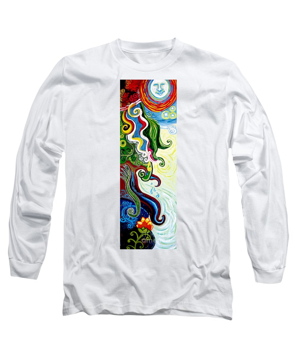 Mother Earth Long Sleeve T-Shirt featuring the painting Earths Tears by Genevieve Esson