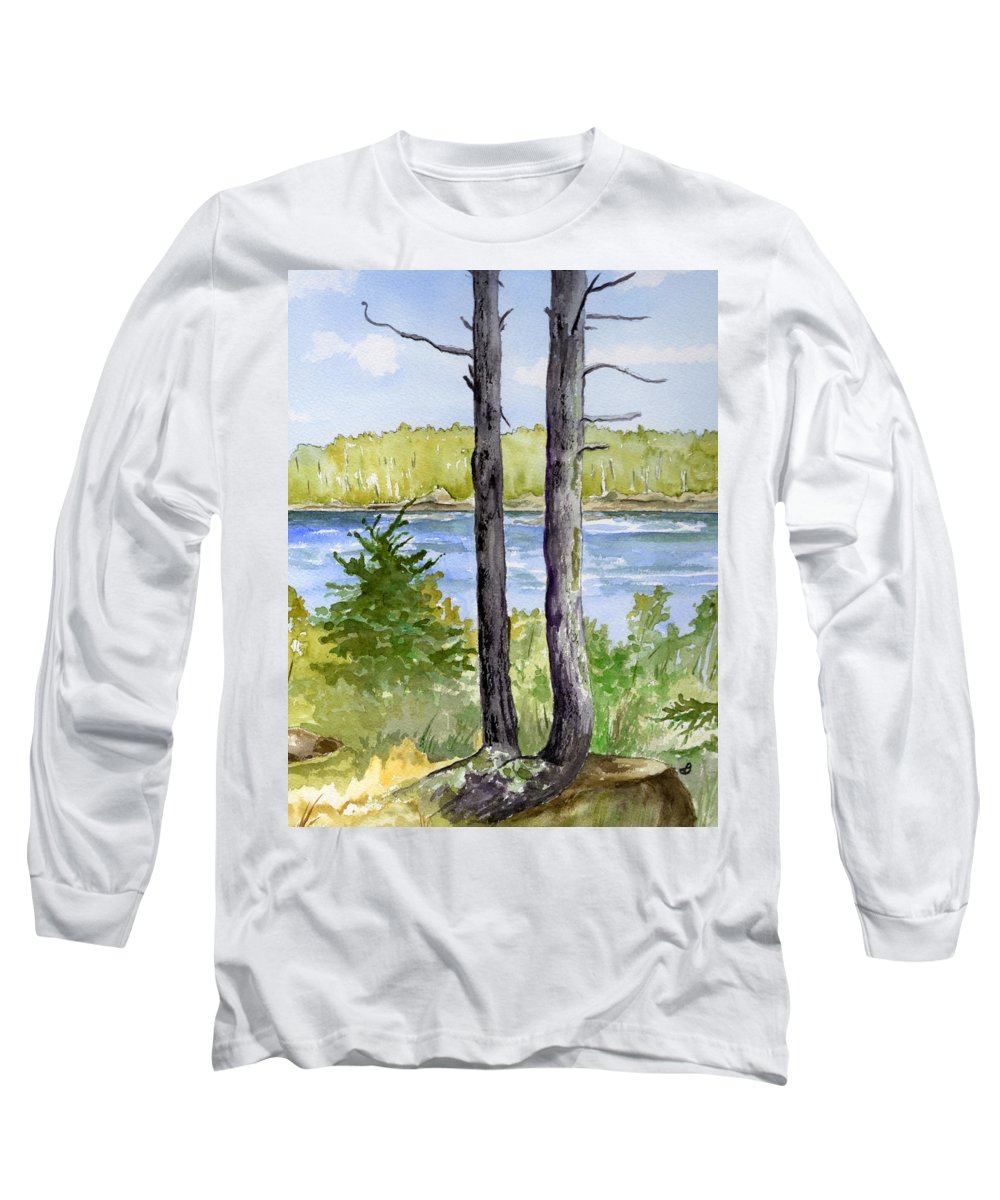 Landscape Seascape Trees Ocean Sea Maine Long Sleeve T-Shirt featuring the painting Eastport Maine Coastal Afternoon by Brenda Owen