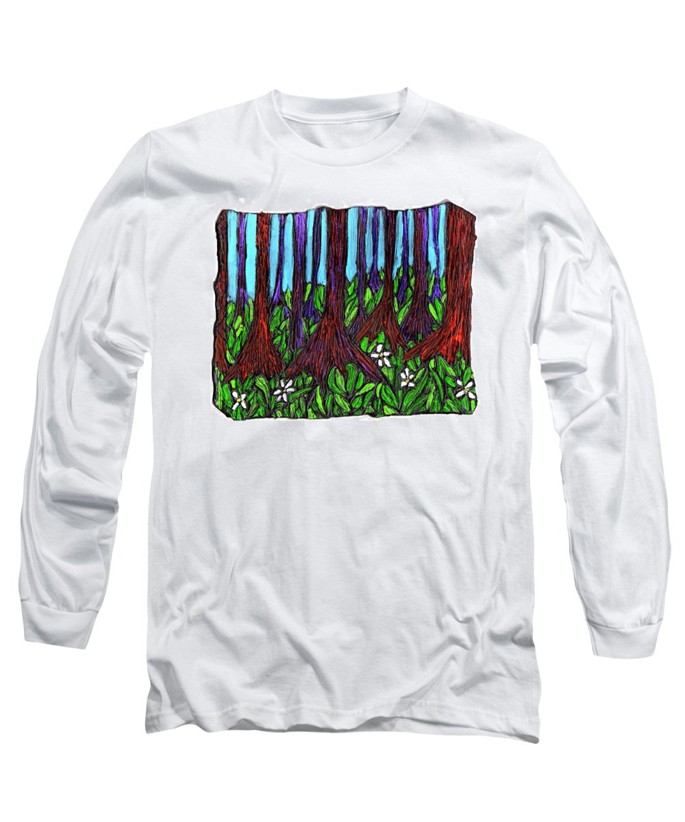 Trees Long Sleeve T-Shirt featuring the painting Edge Of The Swamp by Wayne Potrafka