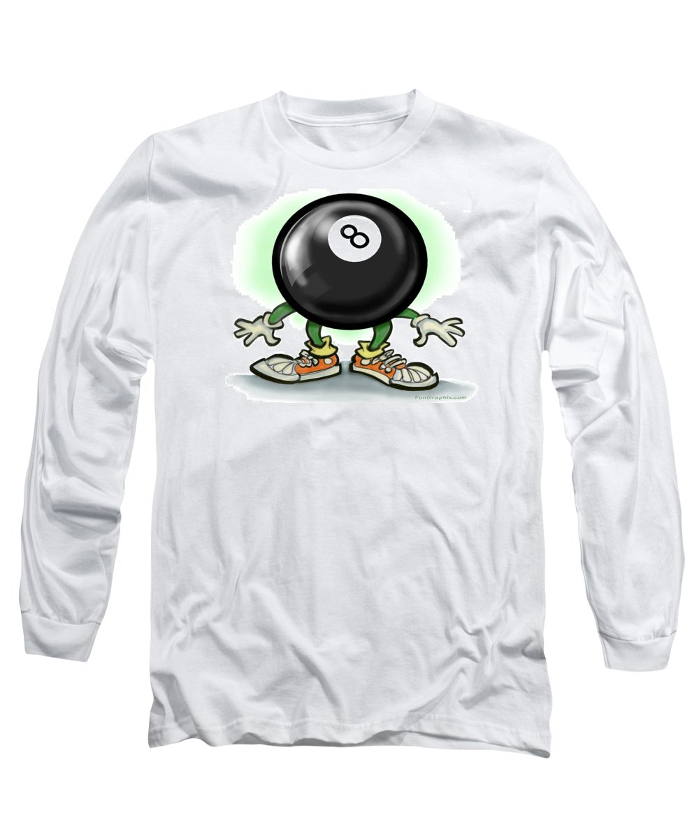 Eightball Long Sleeve T-Shirt featuring the greeting card Eightball by Kevin Middleton