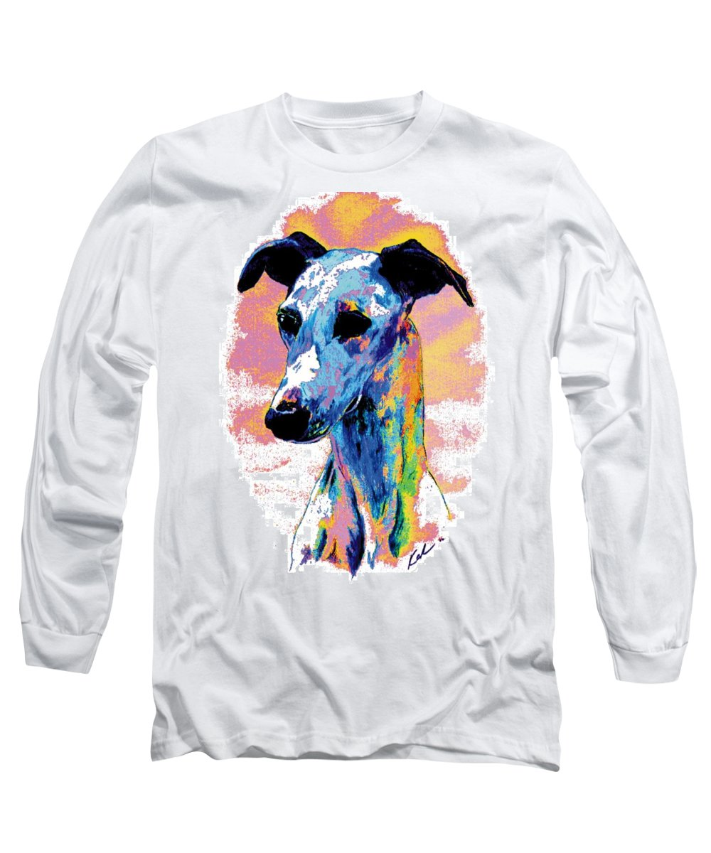 Electric Whippet Long Sleeve T-Shirt featuring the digital art Electric Whippet by Kathleen Sepulveda