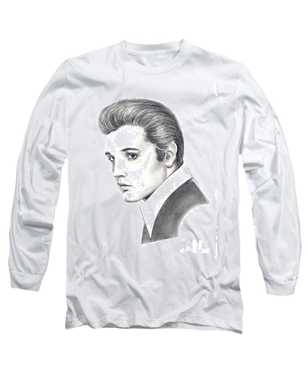 Pencil. Portrait Long Sleeve T-Shirt featuring the drawing Elvis Presley by Murphy Elliott