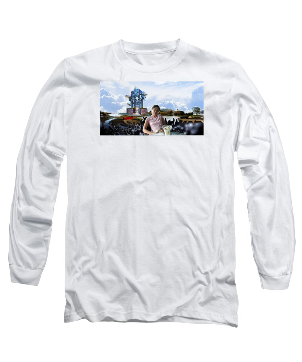 Spacem Maine Long Sleeve T-Shirt featuring the digital art Emma's Afternoon Snack by Dave Martsolf