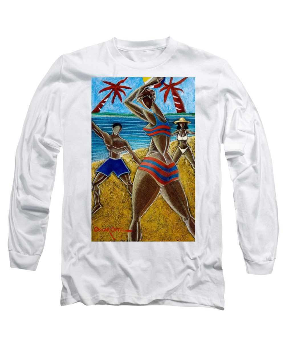 Beach Long Sleeve T-Shirt featuring the painting En Luquillo Se Goza by Oscar Ortiz