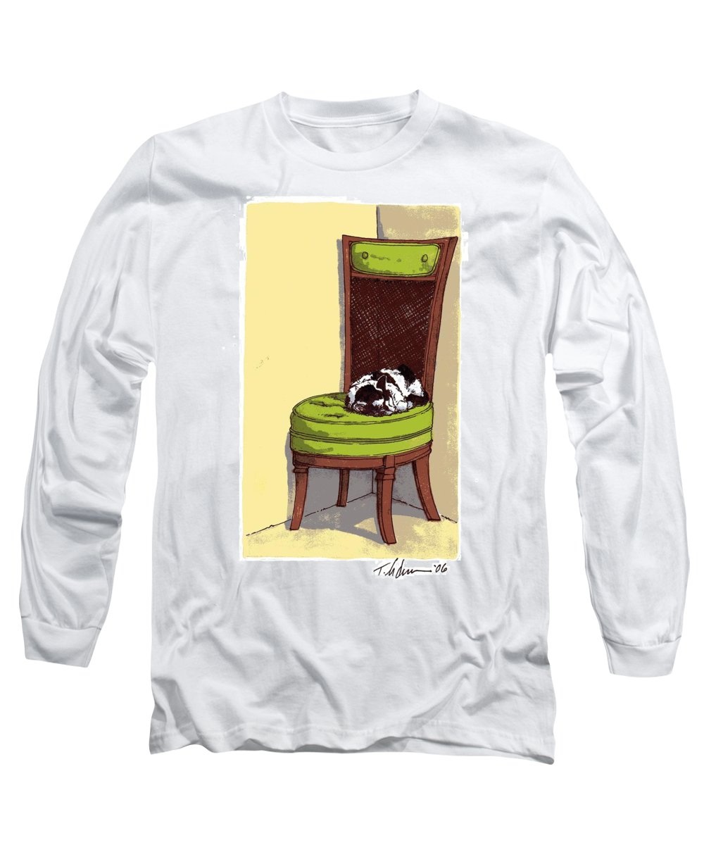 Cat Long Sleeve T-Shirt featuring the drawing Ernie And Green Chair by Tobey Anderson
