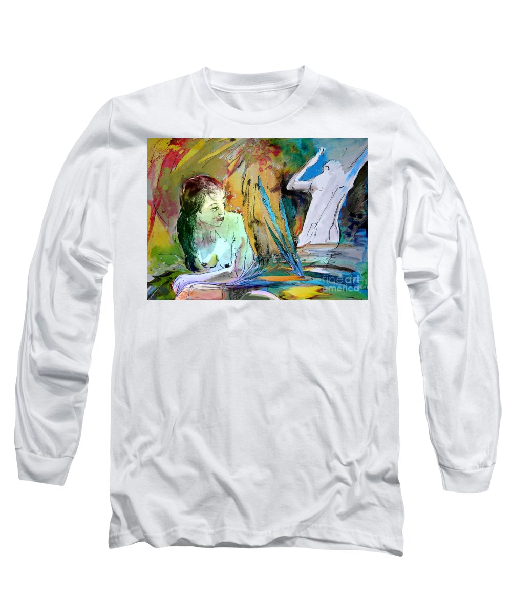 Miki Long Sleeve T-Shirt featuring the painting Eroscape 15 1 by Miki De Goodaboom