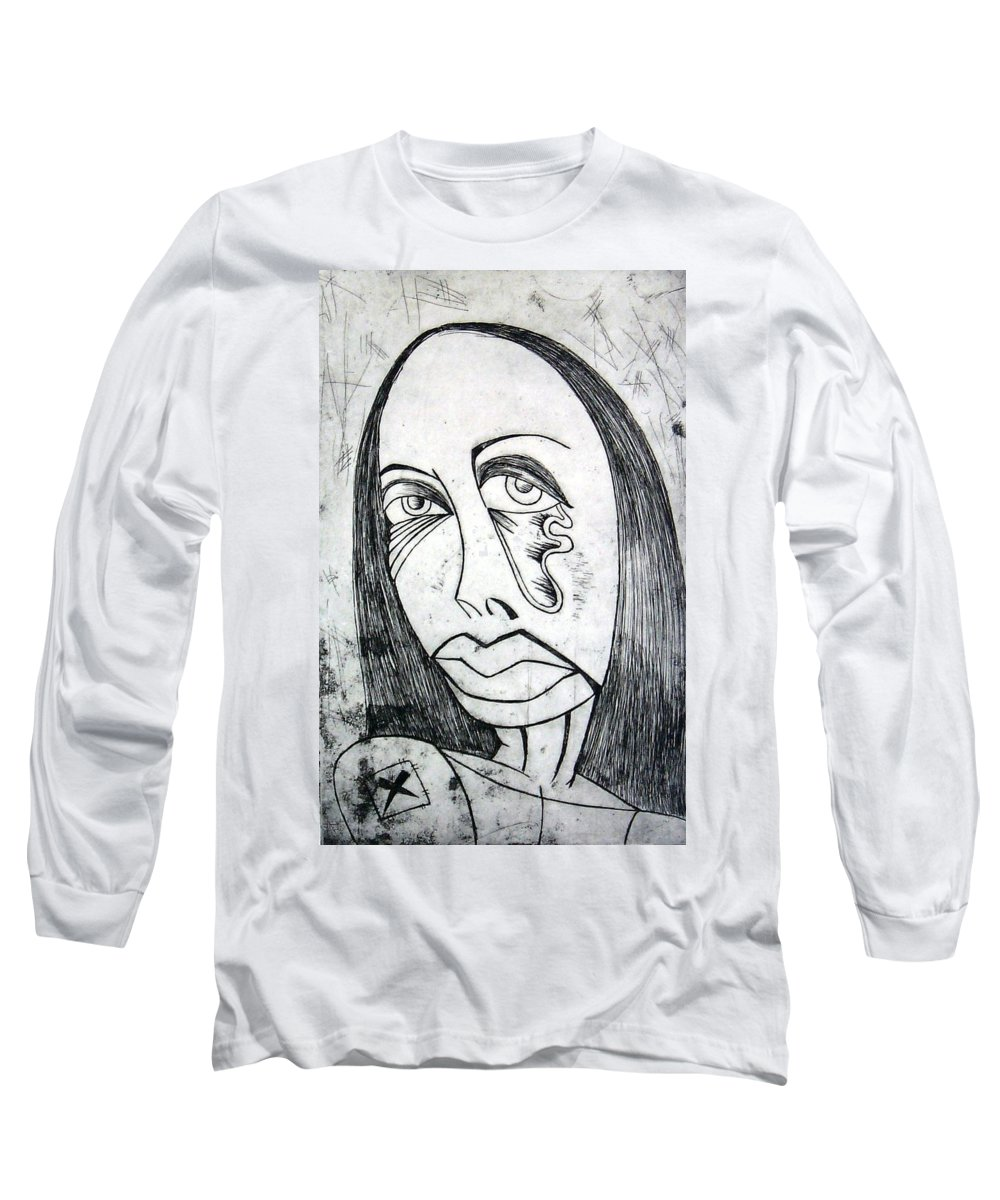 Girl Long Sleeve T-Shirt featuring the print Etching by Thomas Valentine