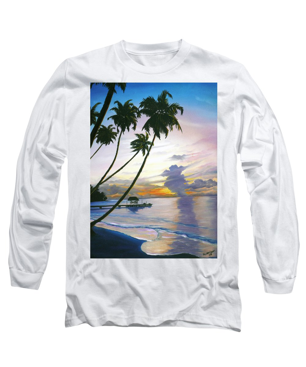 Ocean Painting Seascape Painting Beach Painting Sunset Painting Tropical Painting Tropical Painting Palm Tree Painting Tobago Painting Caribbean Painting Original Oil Of The Sun Setting Over Pigeon Point Tobago Long Sleeve T-Shirt featuring the painting Eventide Tobago by Karin Dawn Kelshall- Best