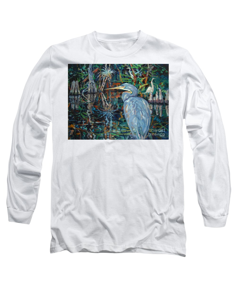 Blue Herron Long Sleeve T-Shirt featuring the painting Everglades by Donald Maier