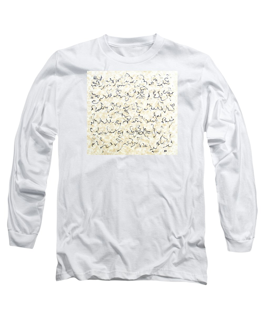 Calligraphy Long Sleeve T-Shirt featuring the drawing Executive Summary With Notes by Dave Martsolf
