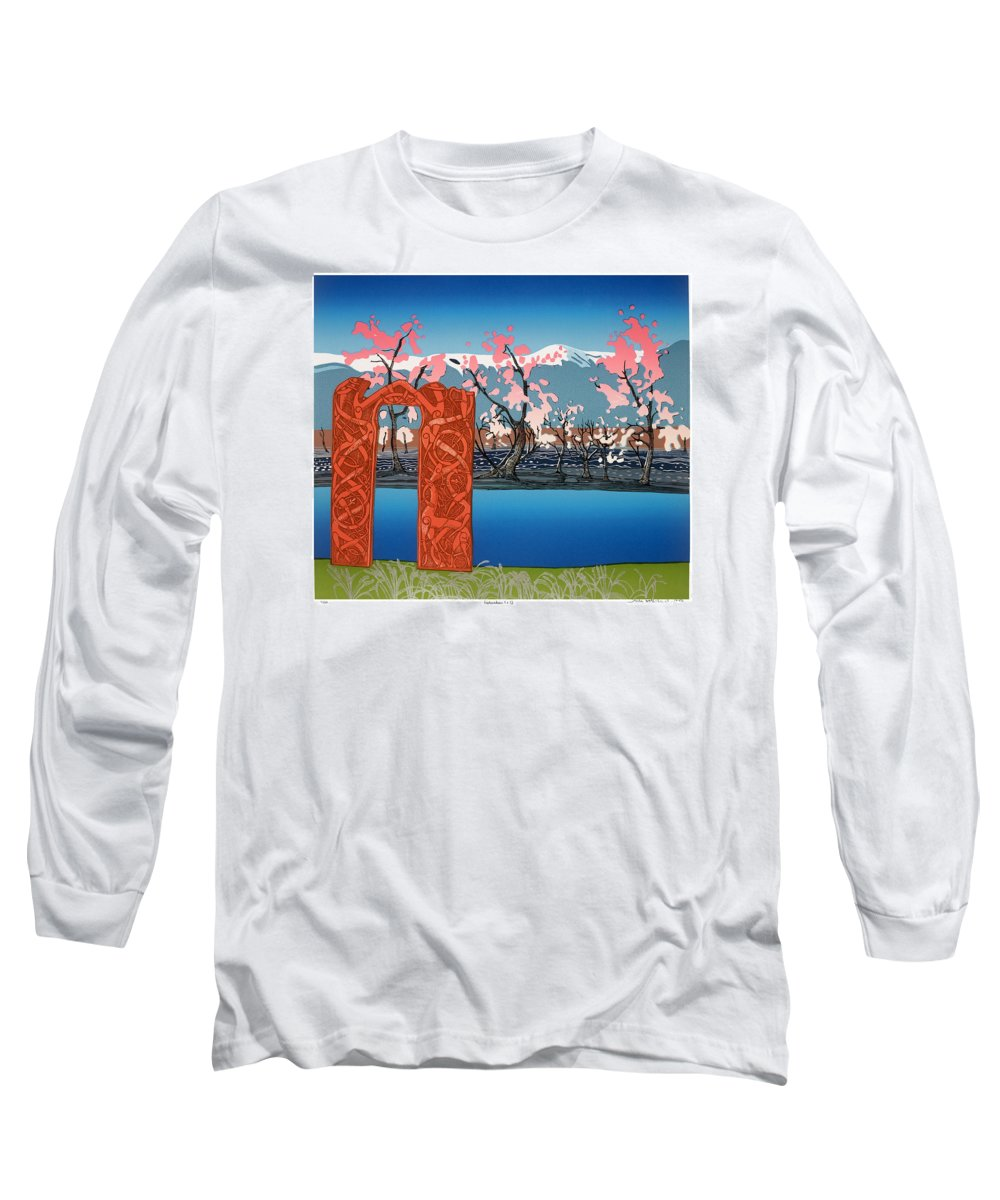Landscape Long Sleeve T-Shirt featuring the mixed media Exploration. by Jarle Rosseland