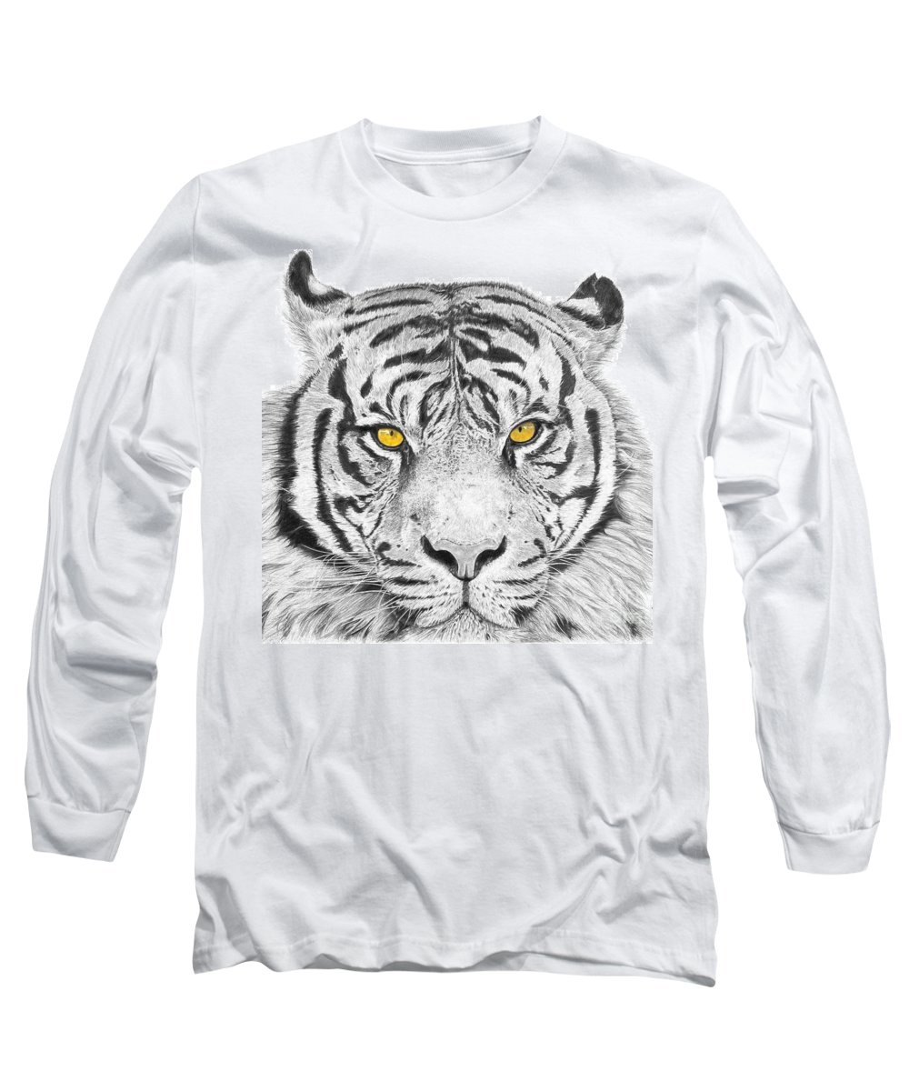 Tiger Long Sleeve T-Shirt featuring the drawing Eyes Of The Tiger by Shawn Stallings