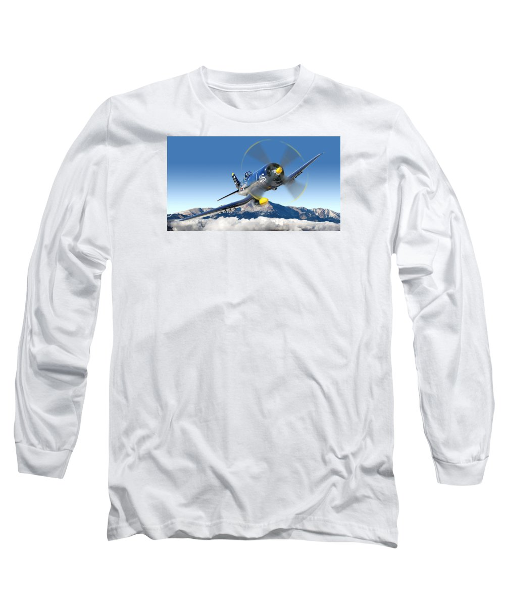 F4-u Corsair Long Sleeve T-Shirt featuring the photograph F4-u Corsair by Larry McManus