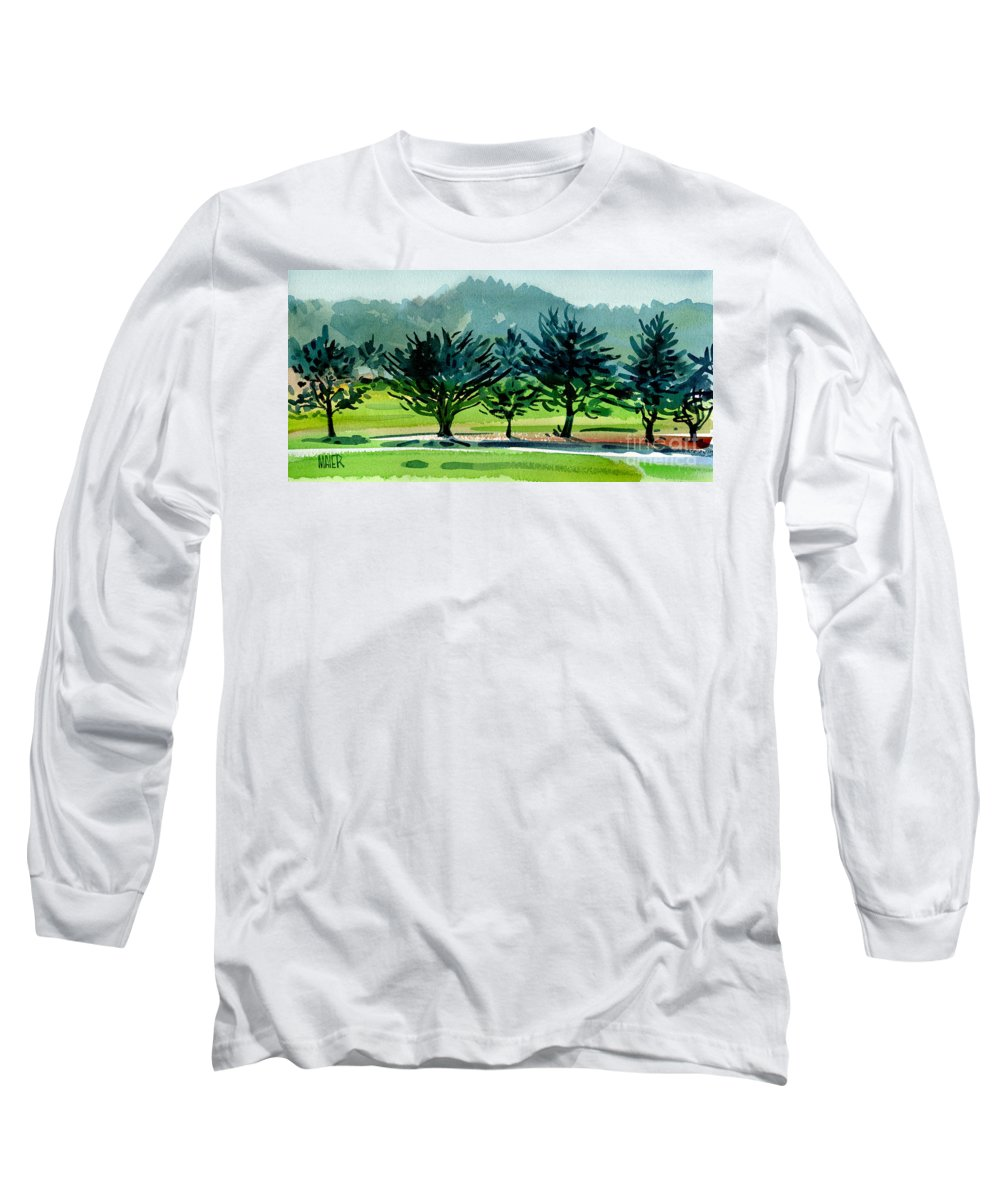 Crystal Springs Long Sleeve T-Shirt featuring the painting Fairway Junipers by Donald Maier