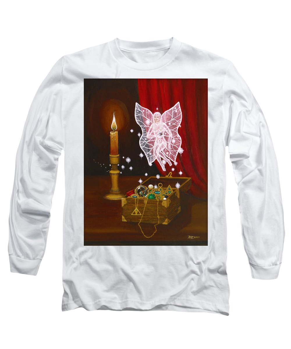 Fairy Long Sleeve T-Shirt featuring the painting Fairy Treasure by Roz Eve