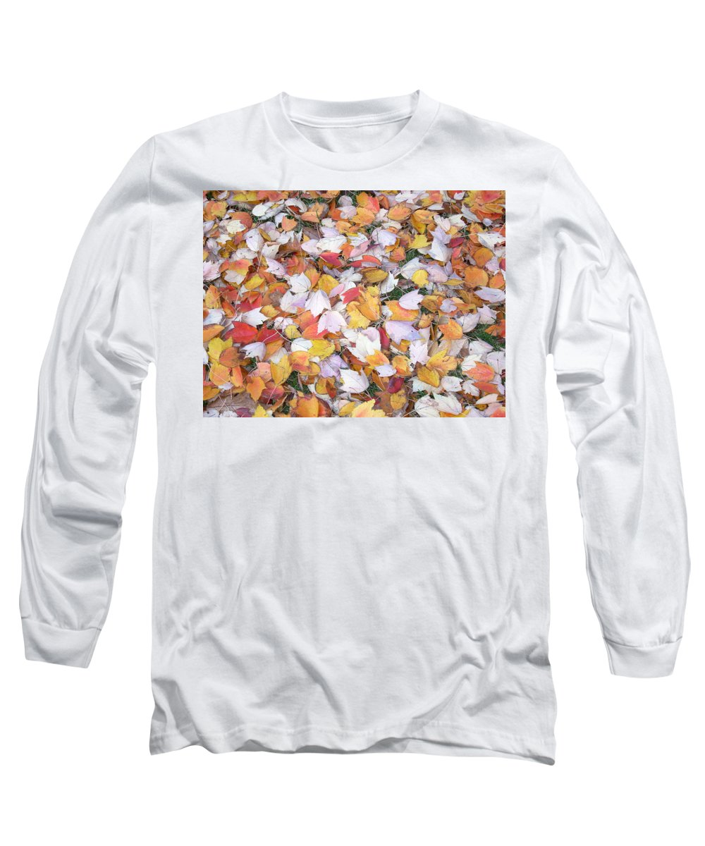 Photography Fall Autum Leaves Long Sleeve T-Shirt featuring the photograph Fallen Fantasy by Karin Dawn Kelshall- Best