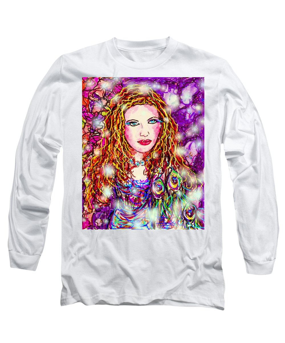 Female Long Sleeve T-Shirt featuring the digital art Fancy Lady by Natalie Holland