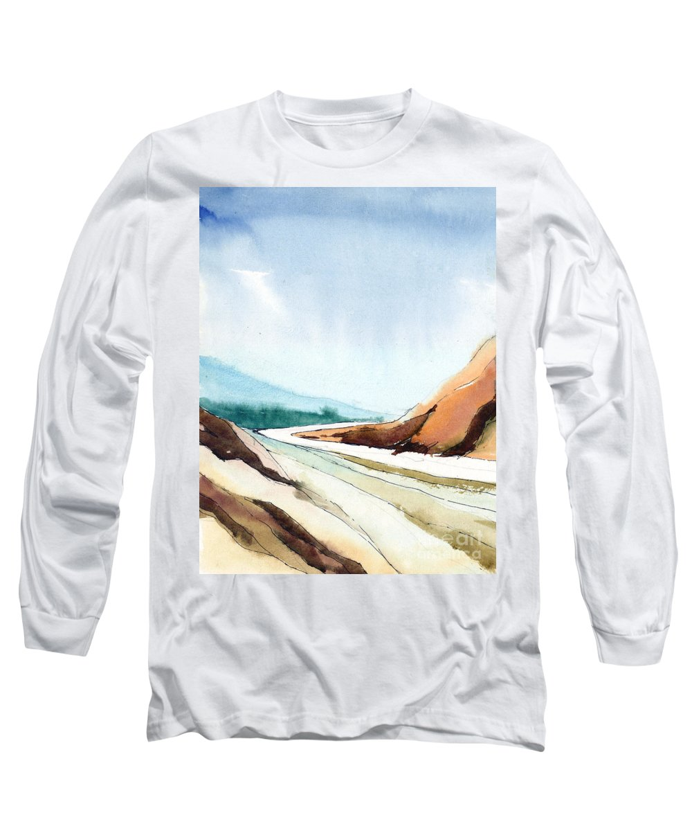 Landscape Long Sleeve T-Shirt featuring the painting Far Away by Anil Nene