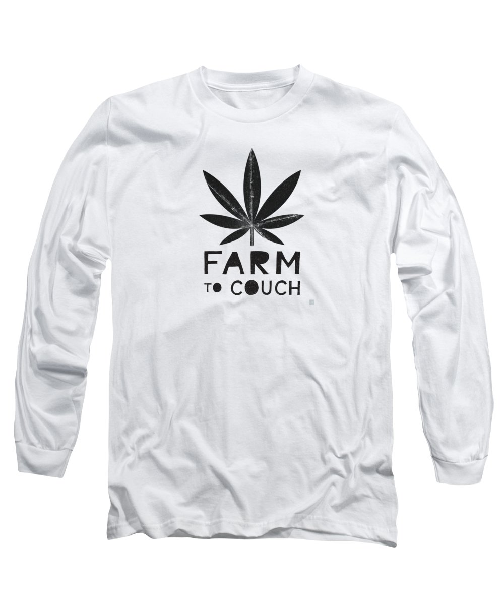 Cannabis Long Sleeve T-Shirt featuring the mixed media Farm To Couch Black And White- Cannabis Art by Linda Woods by Linda Woods