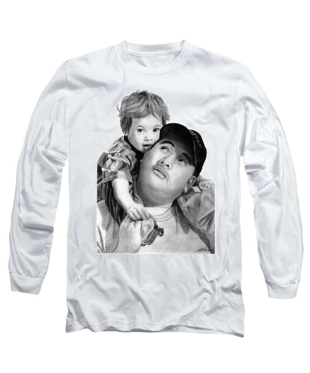 Father And Son Long Sleeve T-Shirt featuring the drawing Father And Son by Peter Piatt
