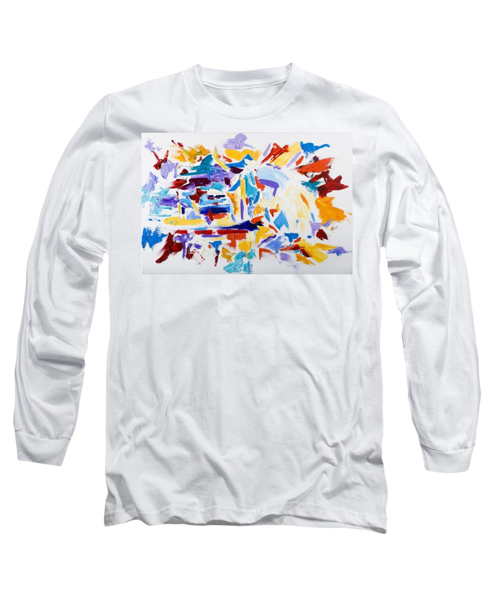 Abstract Yellow Long Sleeve T-Shirt featuring the painting Fiesta by Shannon Grissom