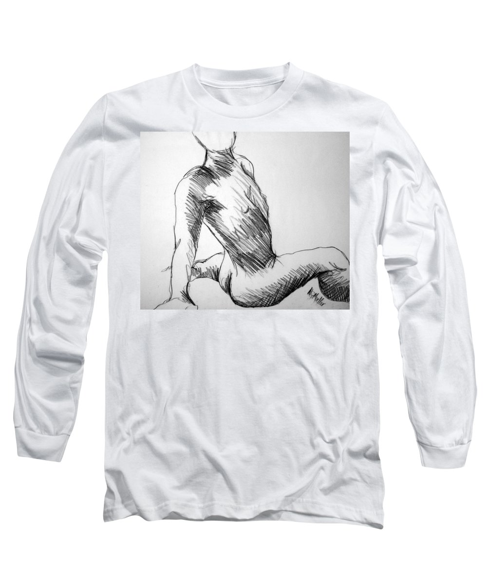 Figure Long Sleeve T-Shirt featuring the drawing Figure Drawing 1 by Nancy Mueller