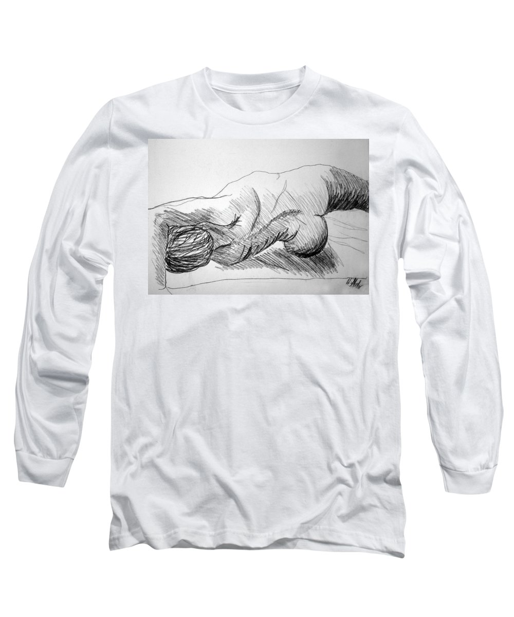 Figure Long Sleeve T-Shirt featuring the drawing Figure Drawing 2 by Nancy Mueller