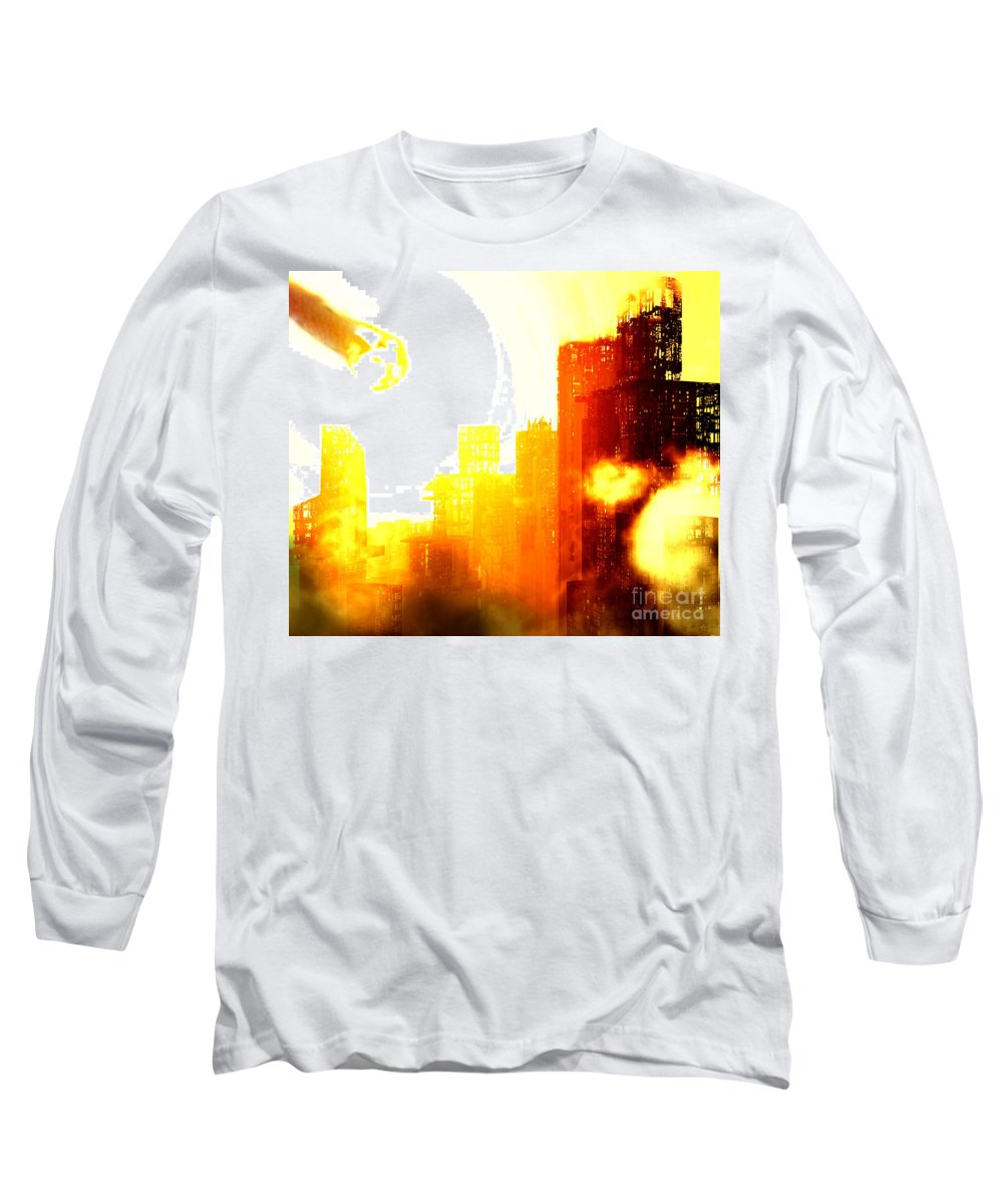 Meteor Showe Long Sleeve T-Shirt featuring the digital art Final Strike by Richard Rizzo