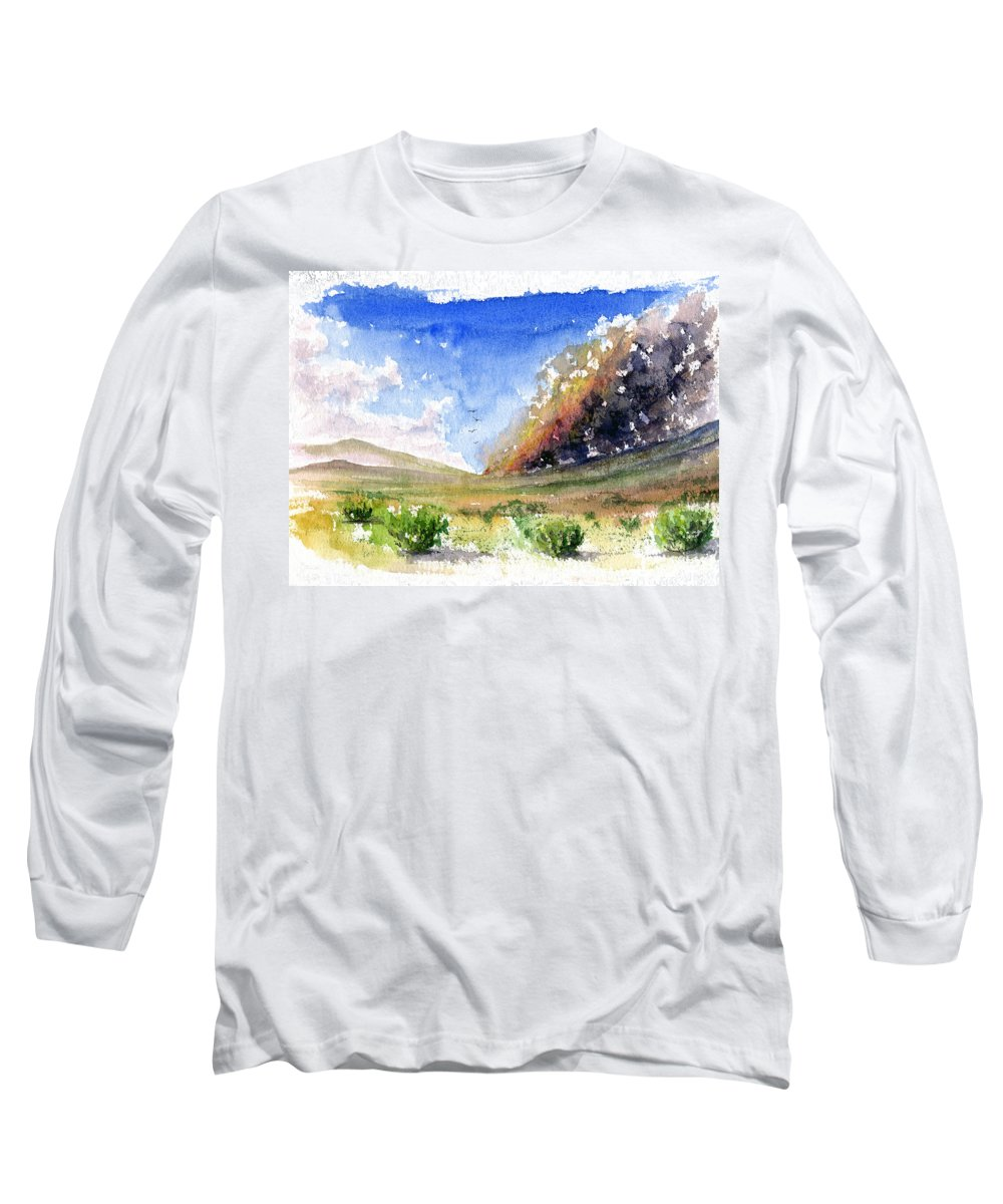 Fire Long Sleeve T-Shirt featuring the painting Fire In The Desert 1 by John D Benson