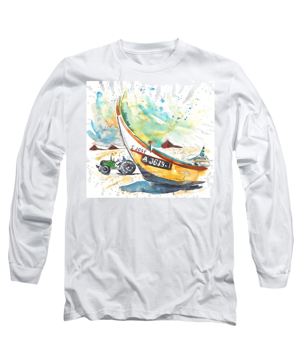 Portugal Long Sleeve T-Shirt featuring the painting Fisherboat In Praia De Mira by Miki De Goodaboom